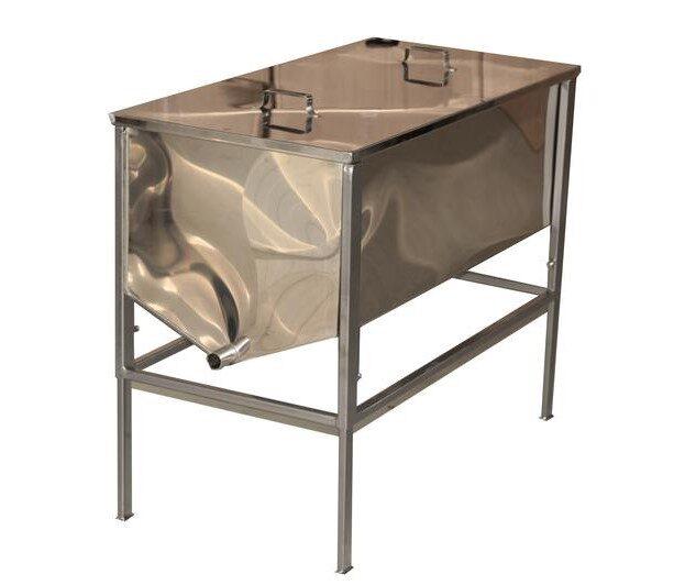 Tvaika vaska kausētava 25 rāmīšiem - atvākojamais galds 1m ar plakanu grozu (nerūsējošā tērauda 0,8mm)
